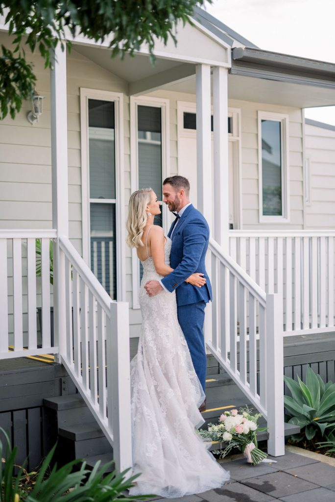 Bride and groom at the cottages